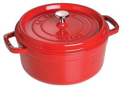 Staub 1102806 Round La Cocotte w/ 7-qt Capacity & Enamel Coated Cast Iron, Cherry