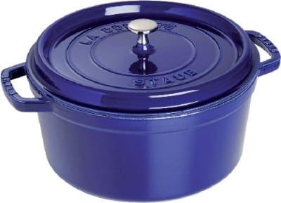 Staub 1103091 Round La Cocotte w/ 9 qt Capacity & Enamel Coated Cast Iron, Dark Blue