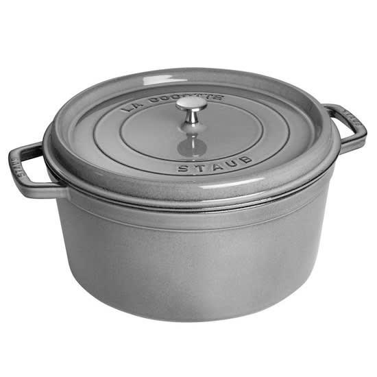 Staub 1103418 Round Cocotte w/ 13.25 qt Capacity & Enamel Coated Cast Iron, Graphite