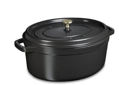 Staub 1103725 Oval Cocotte w. 8.5-qt Capacity & Enamel Coated Cast Iron, Black