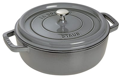Staub 1112618 Wide Round Shallow Cocotte w/ 4-qt Capacity & Enameled Cast Iron, Graphite Grey