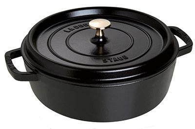 Staub 1112625 Wide Round Shallow Cocotte w/ 4-qt Capacity & Enameled Cast Iron, Black Matte