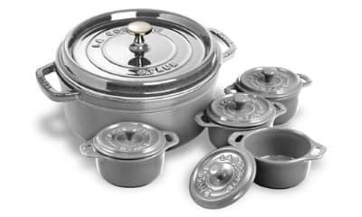 Staub 1130018 4-Qt Round Dutch Oven w/ 4-Mini Cocottes, Graphite Gray