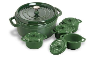 Staub 1130085 4-Qt Round Dutch Oven w/ 4-Mini Cocottes, Basil