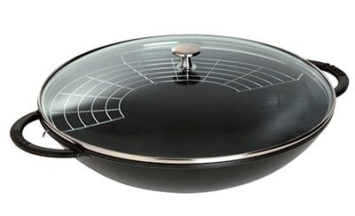 Staub 1313923 Wok w/ 6-qt Capacity, Glass Lid, Spatula, Chop Sticks, Enameled Cast Iron, Black