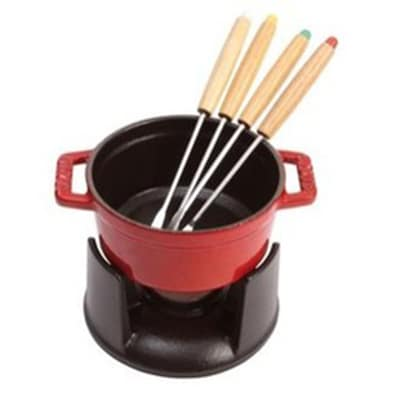 Staub 1400406 Mini Chocolate Fondue Set w/ .25-qt Capacity, 4-Forks, Enameled Cast Iron, Cherry