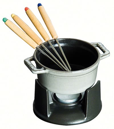 Staub 1400418 Mini Chocolate Fondue Set w/ .25-qt Capacity, 4-Forks, Enameled Cast Iron, Grey