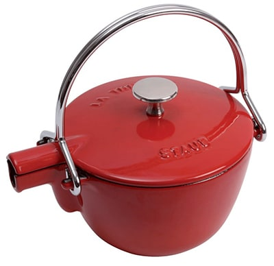 Staub 1650006 Round Teapot w/ 1-qt Capacity & Enamel Coated Cast Iron, Cherry