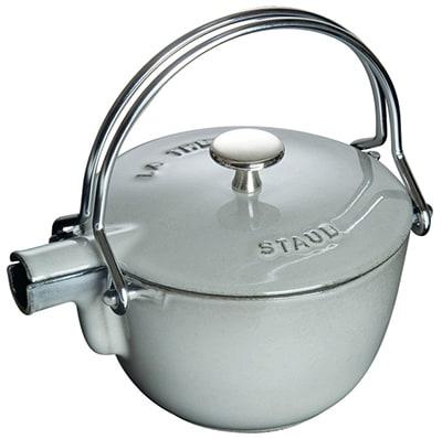Staub 1650018 Round Teapot w/ 1-qt Capacity & Enamel Coated Cast Iron, Graphite Grey