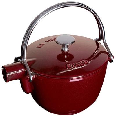 Staub 1650087 Round Teapot w/ 1-qt Capacity & Enamel Coated Cast Iron, Grenadine