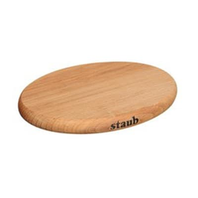 """Staub 41190712 8.25"""" Magnetic Wooden Trivet for Cast Iron & Stainless Pans"""