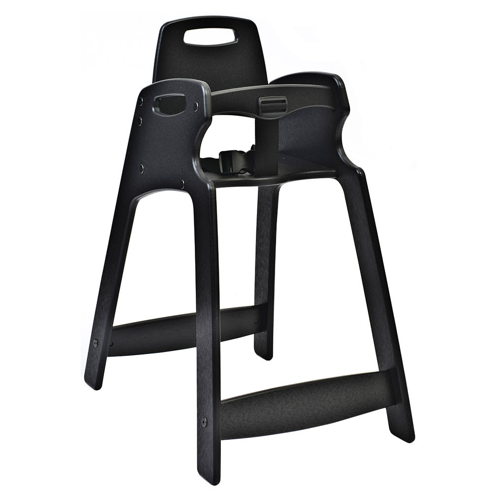 "Koala Kare KB833-02-KD 29.5"" Stackable High Chair w/ Waist Strap - Plastic, Black"