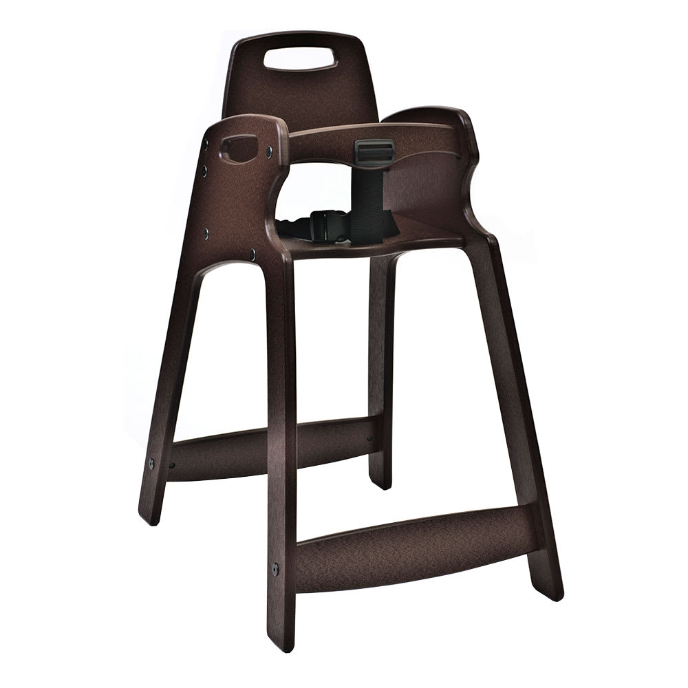 "Koala Kare KB833-09-KD 29.5"" Stackable High Chair w/ Waist Strap - Plastic, Dark Brown"