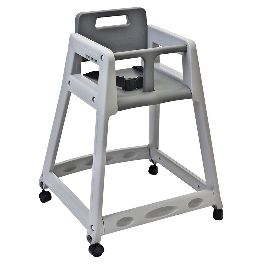 "Koala Kare KB850-01-W 29.38"" Stackable High Chair w/ Waist Strap & Casters - Plastic, Gray"