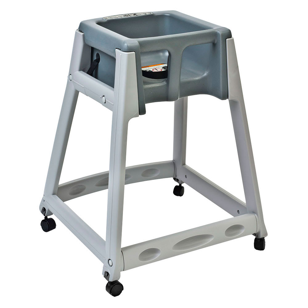 "Koala Kare KB877-01W 27"" High Chair/Infant Seat Cradle w/ Waist Strap & Casters - Plastic, Gray"