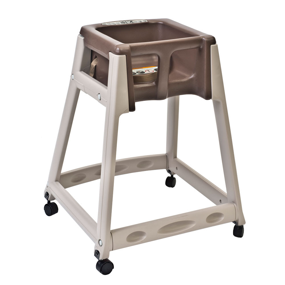 "Koala Kare KB888-09W 27"" High Chair/Infant Seat Cradle w/ Waist Strap & Casters - Plastic, Beige/Brown"