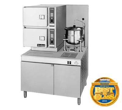 Cleveland 42CKGM300 LP 2-Compartment Convection Steamer w/ (1) 6-Gallon Kettle, Tilt, LP