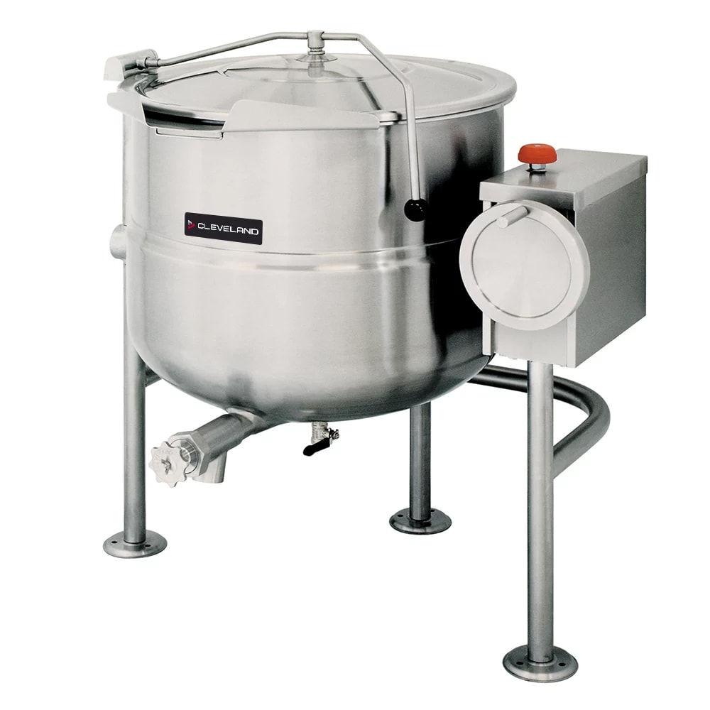 Cleveland KDL-100-T 100-Gallon Direct Steam Tilting Kettle w/ Open Quad-Leg Base, Stainless