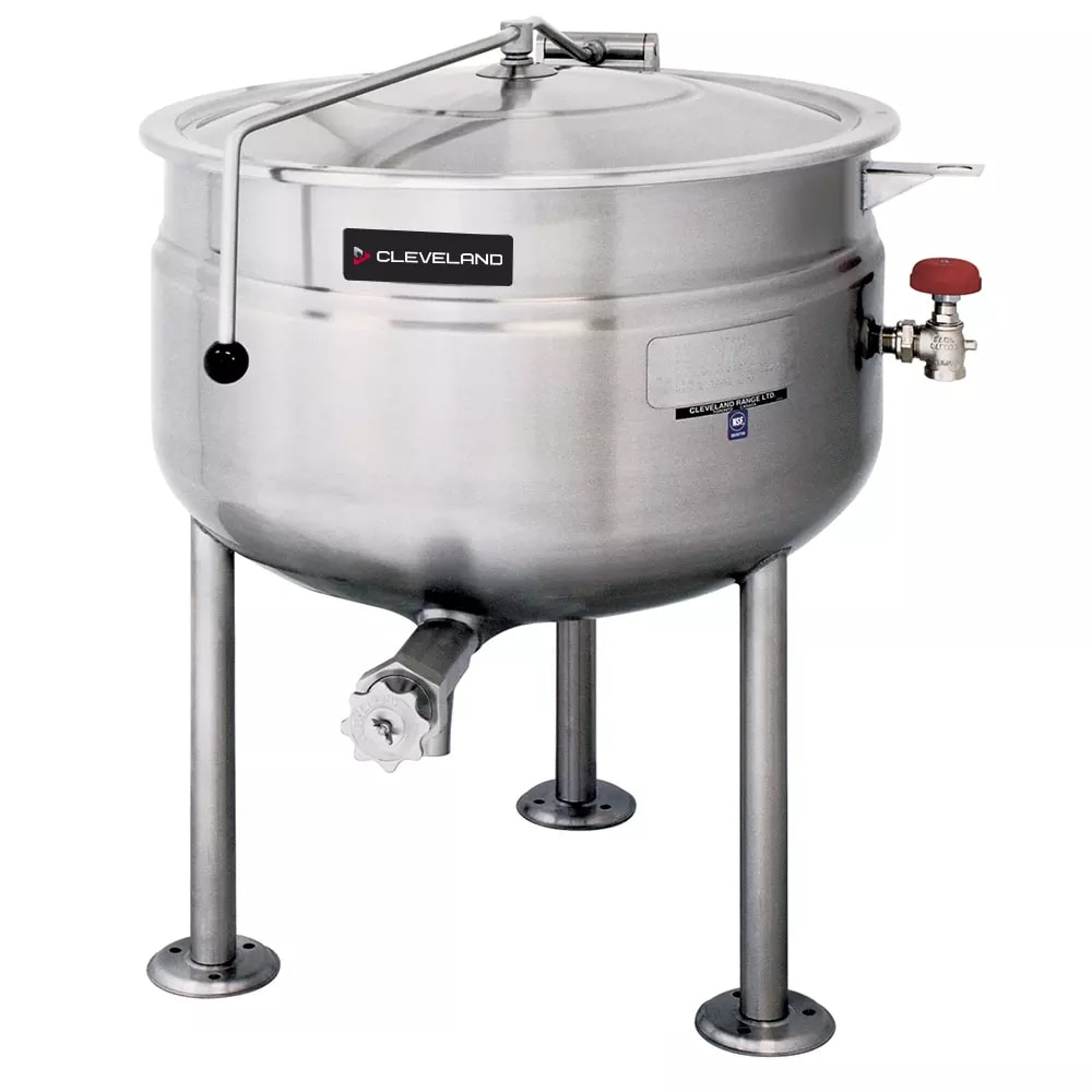 Cleveland KDL-125-F 125 Gallon Full Direct Steam Kettle w/ Open Tri-Leg Base, 35 PSI