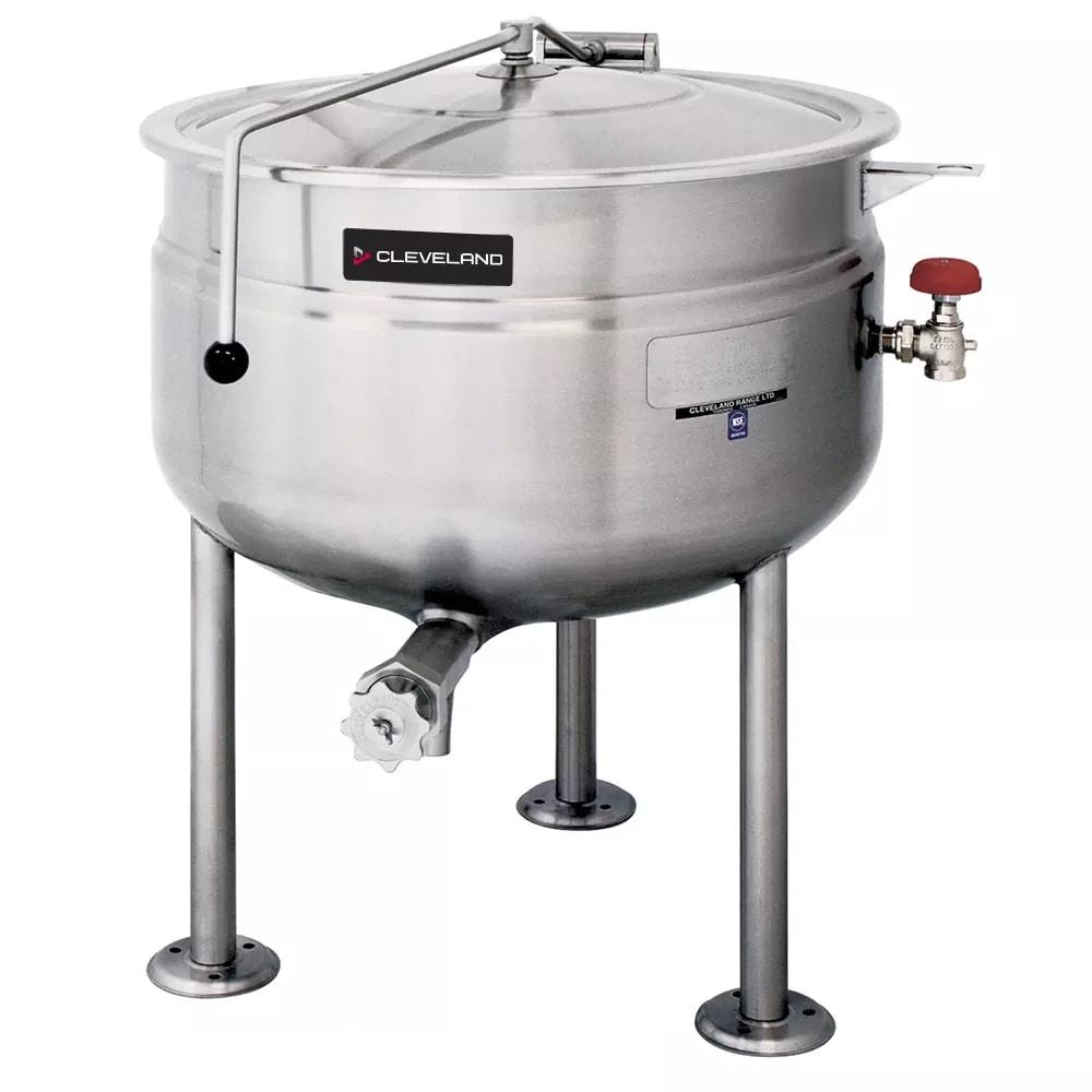 Cleveland KDL-150-F 150-Gallon Full Direct Steam Kettle w/ Open Tri-Leg Base, 35 PSI