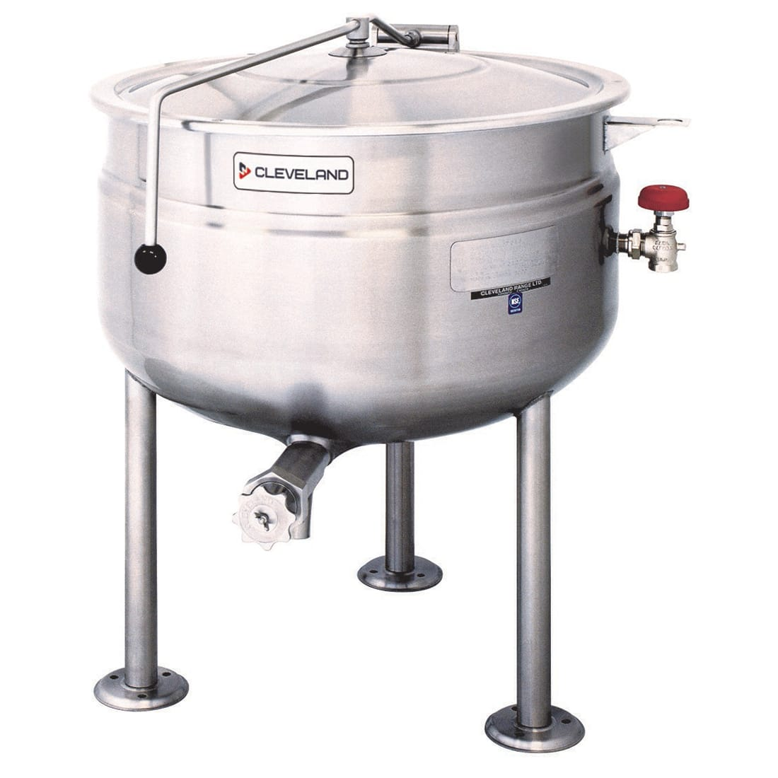 Cleveland KDL-40-SH 40 Gallon Short Full Direct Steam Kettle w/ Solid State, Open Tri-Leg