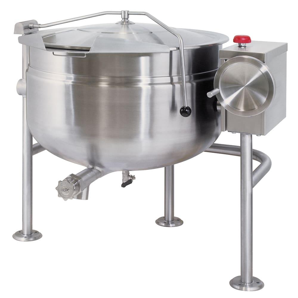 Cleveland KDL-40-TSH 40-Gallon Short Direct Steam Tilting Kettle w/ Open Tri-Leg Base, 50 PSI