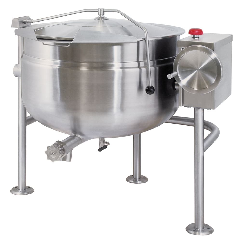 Cleveland KDL-80-TSH 80 Gallon Short Direct Steam Tilt Kettle w/ Open Tri-Leg Base, Full Jacket