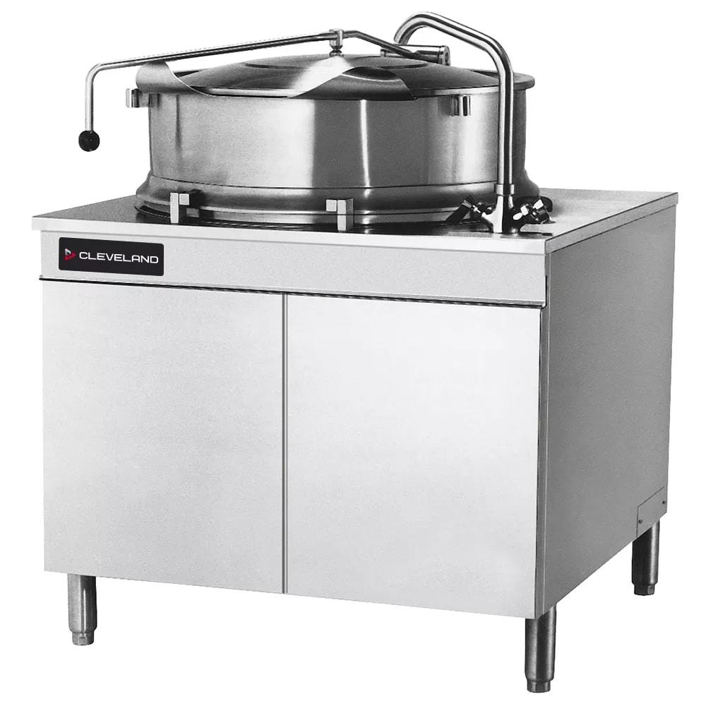 Cleveland KDM-40-T 40 Gallon Direct Steam Tilt Kettle w/ Cabinet, 2/3 Steam Jacket