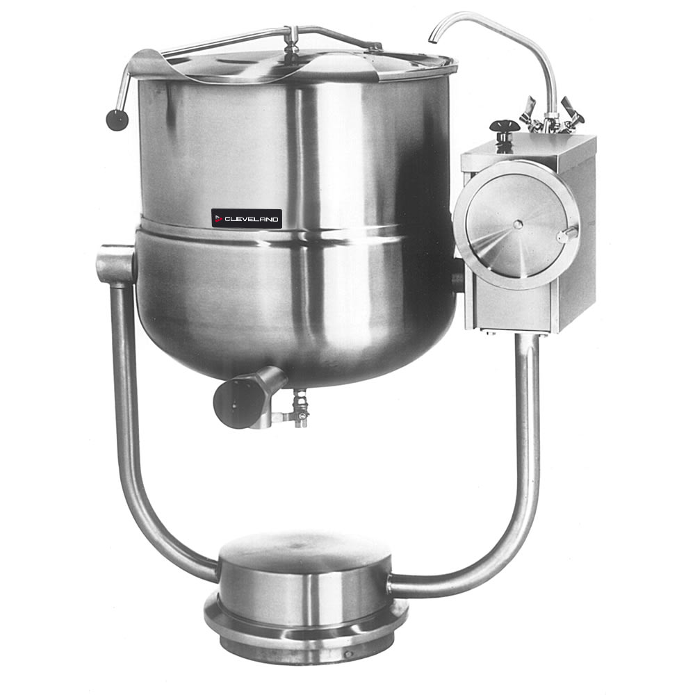 Cleveland KDP-25-T 25-Gallon Tilting Direct Steam Kettle w/ Pedestal Base, 2/3 Steam Jacket
