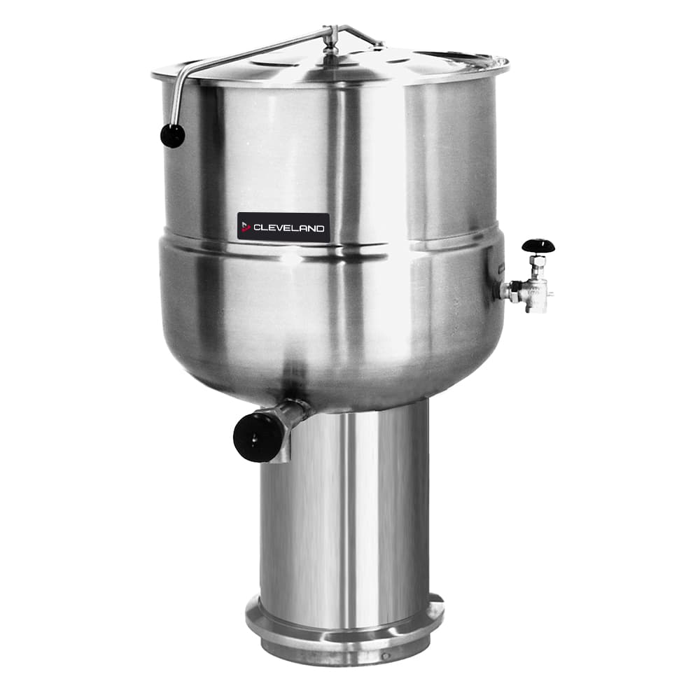 Cleveland KDP-40 40 Gallon Direct Steam Kettle w/ Pedestal Base, 2/3 Steam Jacket