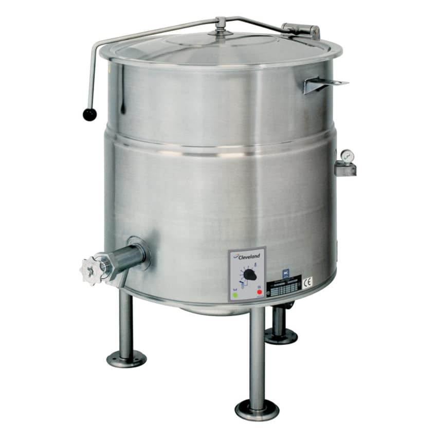 Cleveland KEL100 100-Gallon Kettle w/ Open Tri-Leg Base, 2/3 Steam Jacket, 240v/3ph