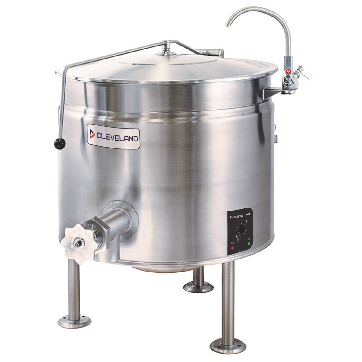 Cleveland KEL-40-SH 40 gal Full Steam Jacket Kettle w/ Open 3 Leg Base, Solid-State, 240v/3ph