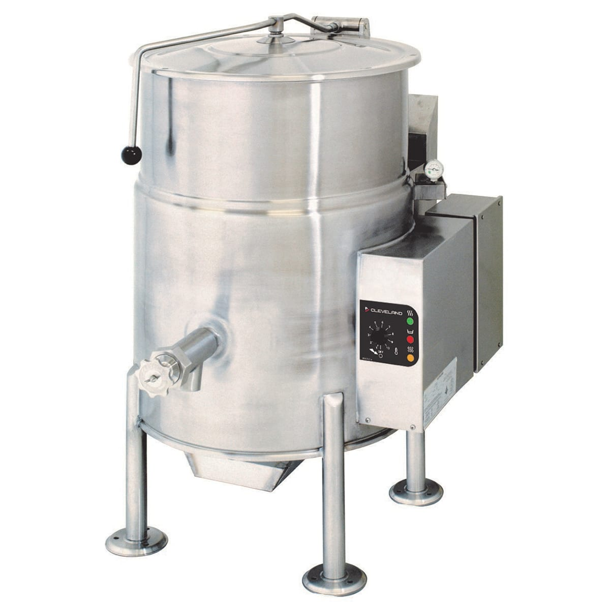 Cleveland KGL25 25-Gallon Stationary Kettle w/ Electronic Ignition, 2/3 Steam Jacket, NG