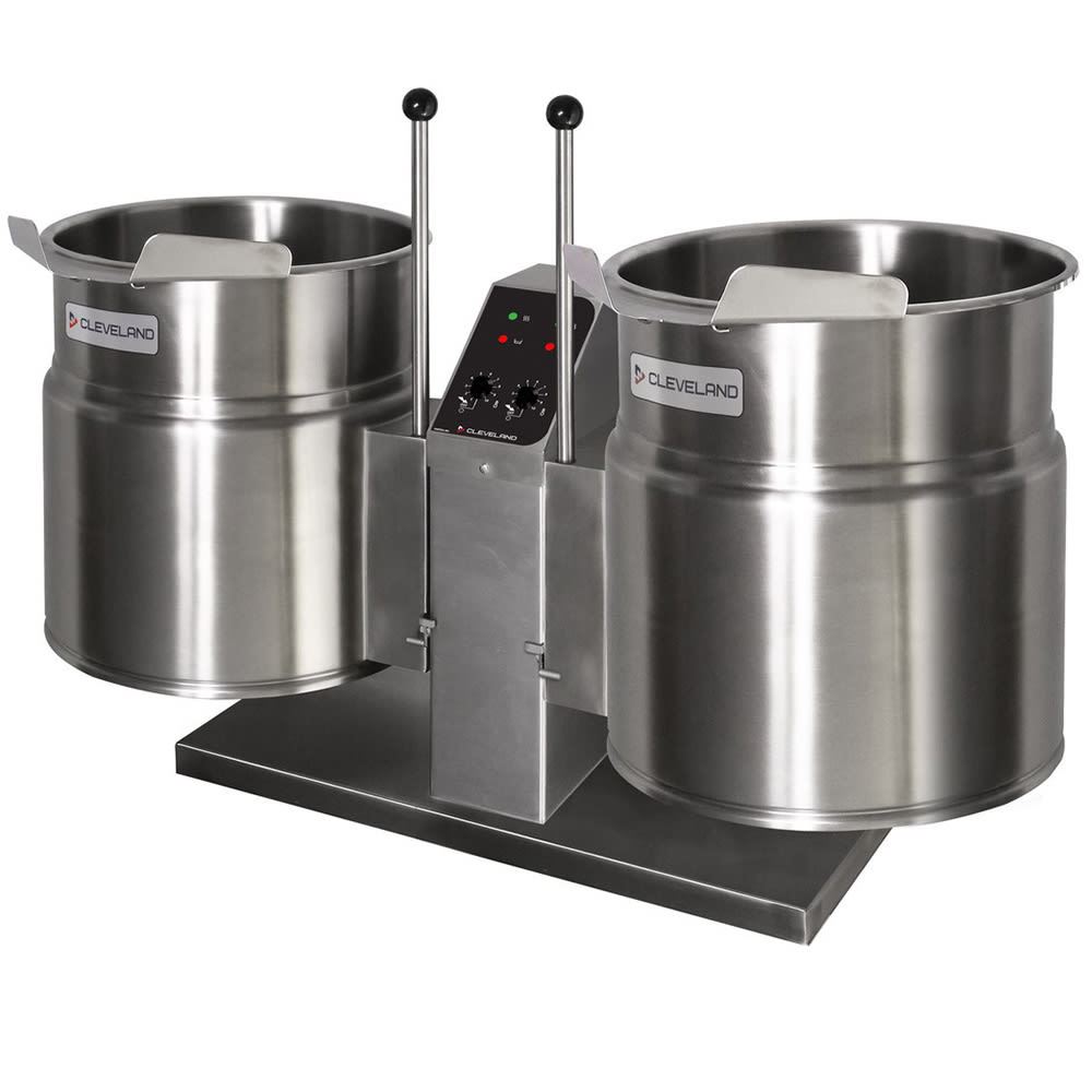 Cleveland TKET-3-T Twin 3-gal Tabletop Tilt Kettle w/ Center Support Console, 208v/1ph