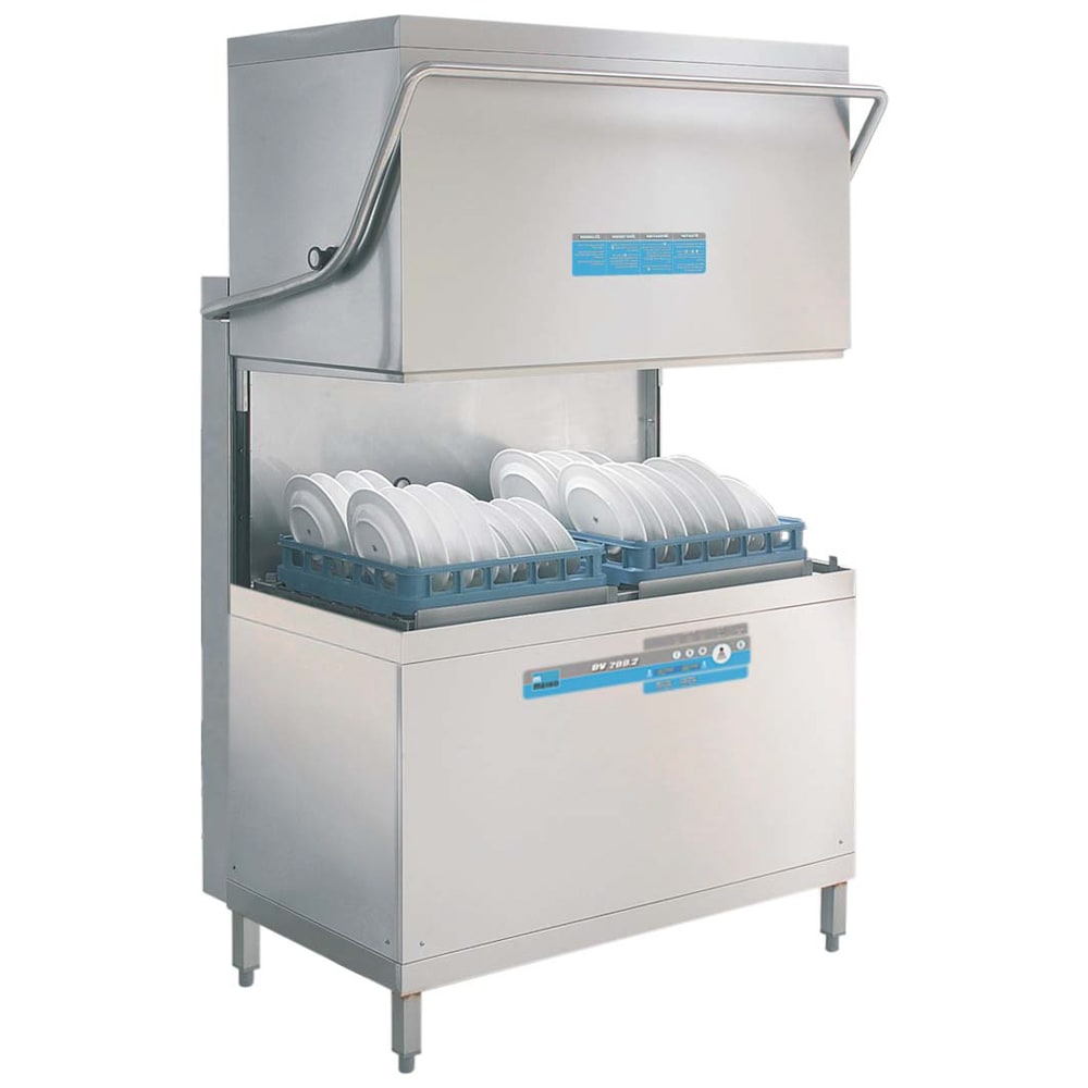 Meiko DV200.22P 208/230/3 High Temp Door-Type Dishwasher - (2) 2x20 Racks, 108 Racks/hr Capacity