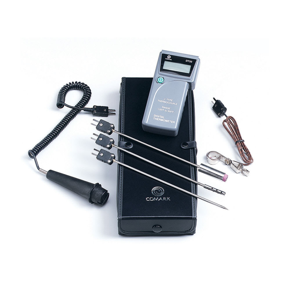 Comark DT33P1 Digital Hand-Held Combination Probe Kit w/ Probes & Case, Type J