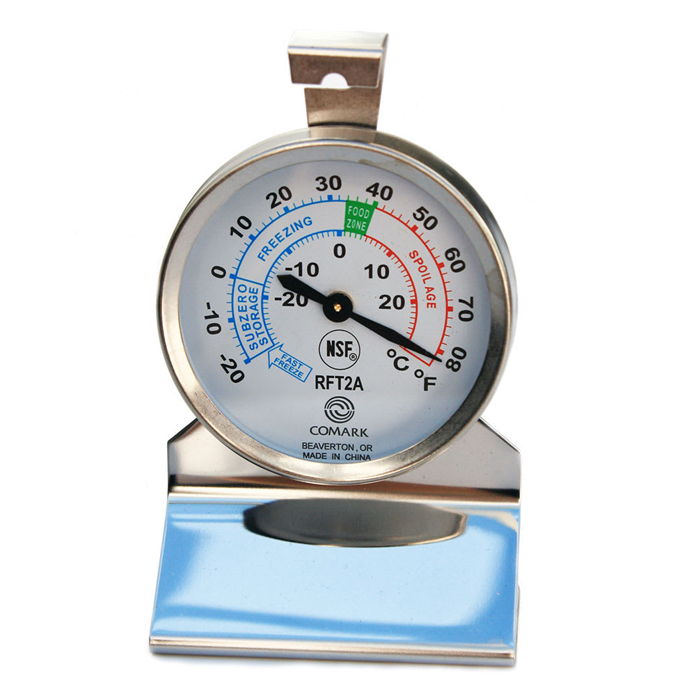 Comark RFT2AK Refrigerator Freezer Thermometer, Dial, Temp. Range -20 to 80 F, SS