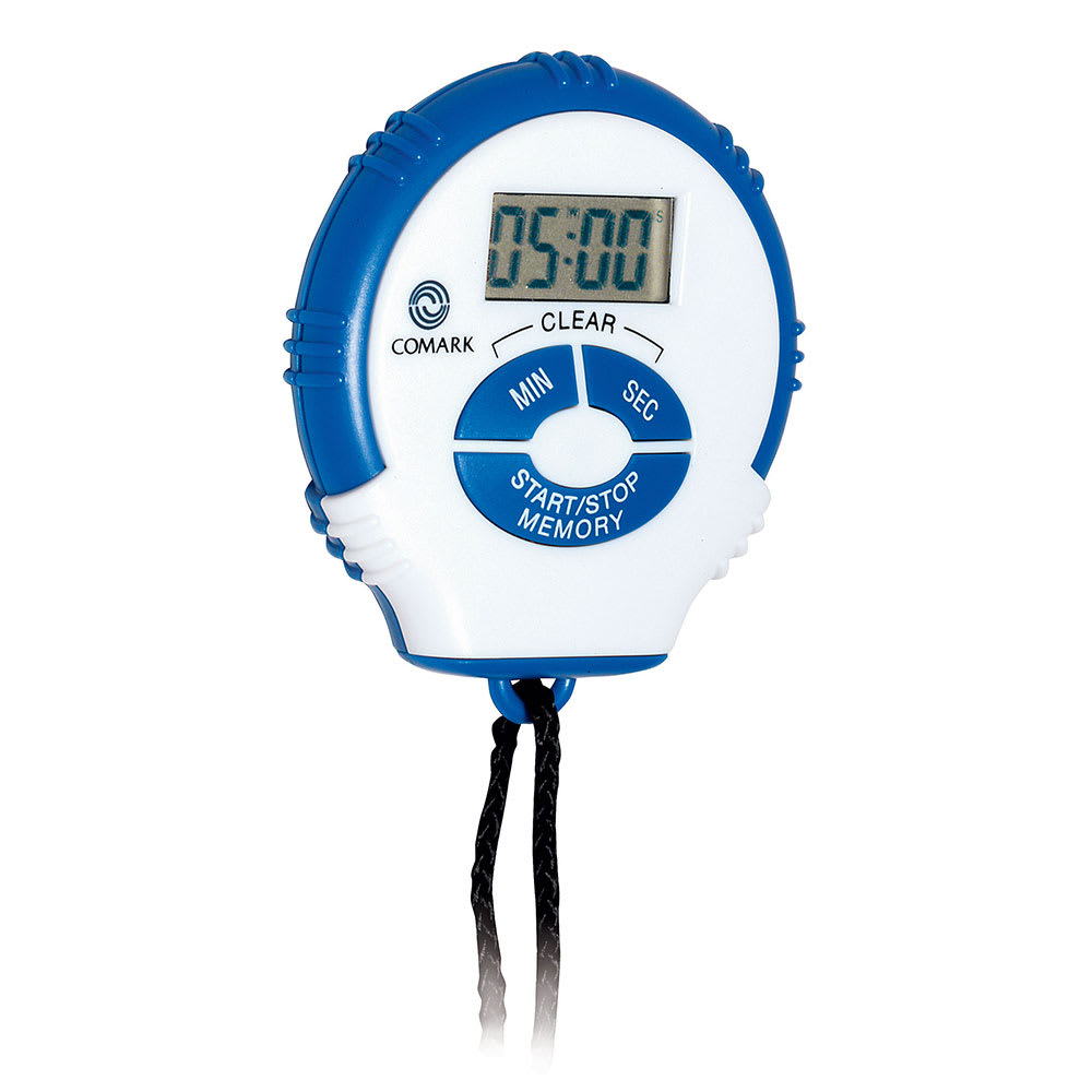 """Comark SWT2 Stopwatch Timer w/ Memory & 18"""" Cord On Slide Card"""