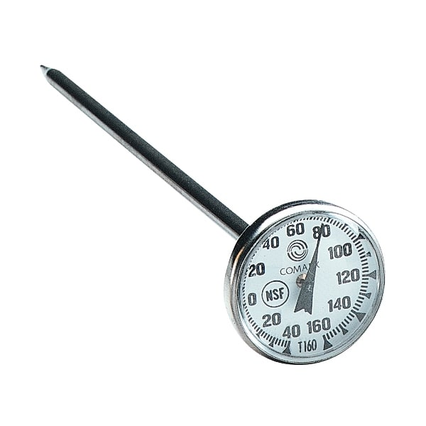 "Comark T1603 Pocket Thermometer, 1 3/4""Dial, 5"" Stem, -40 to 160 F,Stainless, NSF"