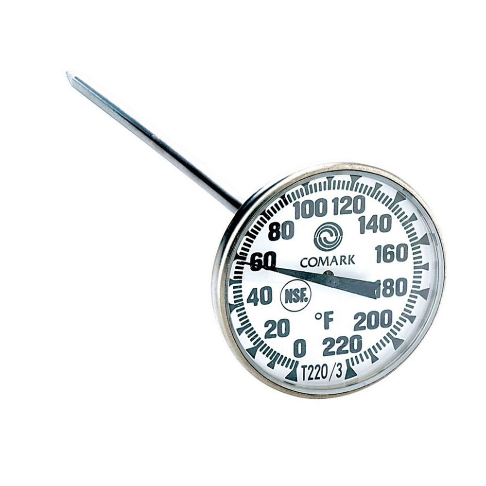 "Comark T220/3 Pocket Thermometer, 1-3/4"" Dial, 5 in, Stainless, Watertight, 0 to 220 F"