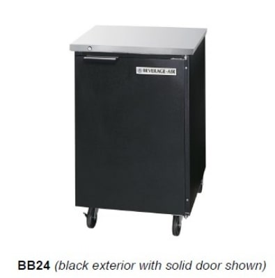 "Beverage Air BB24G-1-S 24"" (1) Section Bar Refrigerator - Swinging Glass Door, 115v"