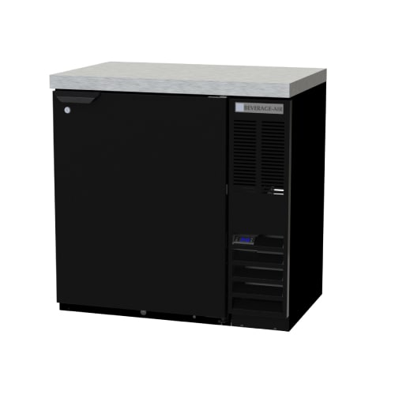 "Beverage Air BB36HC-1-F-B-27 36"" (1) Section Bar Refrigerator - Swinging Solid Door, 115v"