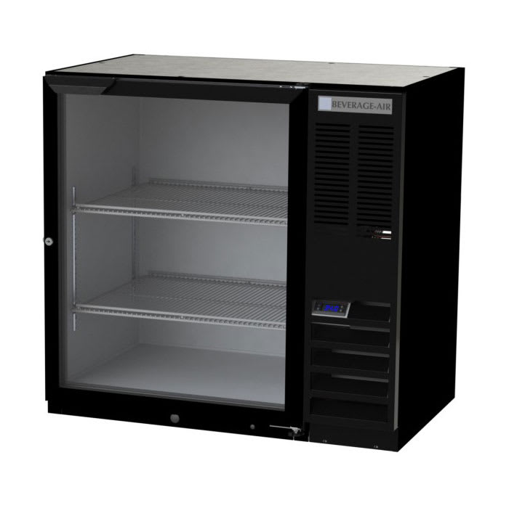 "Beverage Air BB36HC-1-G-B-27 36"" (1) Section Bar Refrigerator - Swinging Glass Door, 115v"