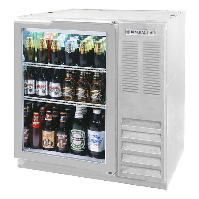"Beverage Air BB36HC-1-G-S 36"" (1) Section Bar Refrigerator - Swinging Glass Door, 115v"