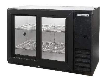 "Beverage Air BB48GSY-1-B-27 48"" (2) Section Bar Refrigerator - Sliding Glass Doors, 115v"