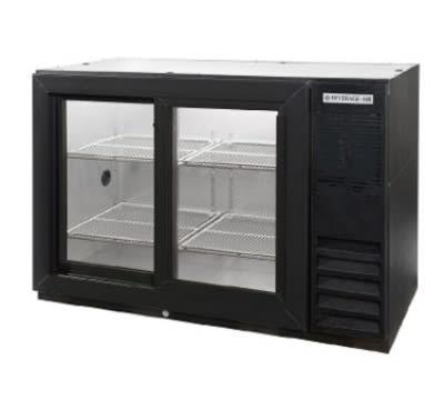 "Beverage Air BB48GSY-1-B-PT 48"" (2) Section Bar Refrigerator - Sliding Glass Doors, 115v"