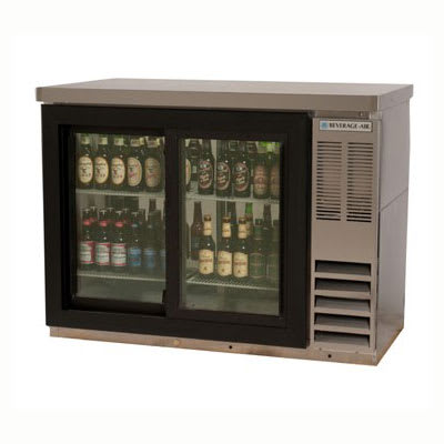 "Beverage Air BB48GSY-1-S-27-PT 48""  (2) Section Bar Refrigerator - Sliding Glass Doors, 115v"