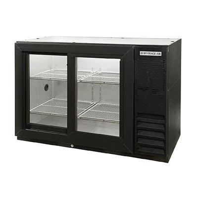 "Beverage Air BB48GSYF-1-B-27 48"" (2) Section Bar Refrigerator - Sliding Glass Doors, 115v"