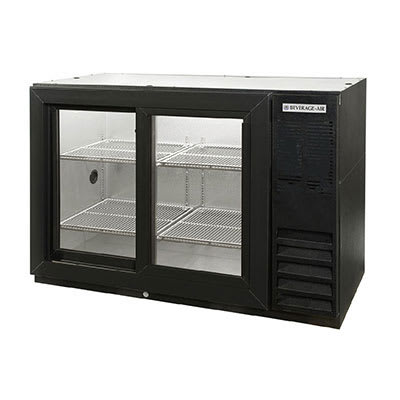 "Beverage Air BB48GSYF-1-S-PT 48"" (2) Section Bar Refrigerator - Sliding Glass Doors, 115v"