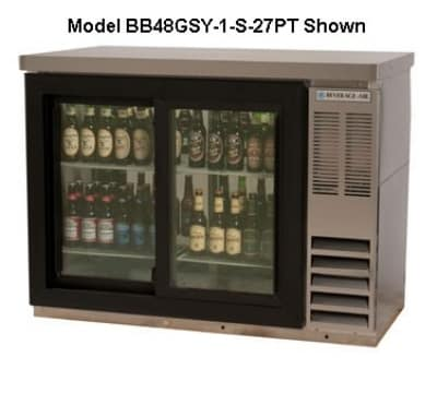"""Beverage Air BB48GY-1-S 48"""" (2) Section Bar Refrigerator - Swinging Glass Doors, 115v"""